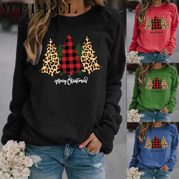 WEPBEL Merry Christmas Tree Print Sweater Women Loose O Neck Christmas Sweater Knitted Pullover Top Sweatshirt letter print crew neck pullover christmas sweatshirt