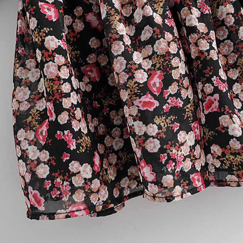 Aachoae Boho tarzı çiçek baskılı pileli elbise uzun kollu kadın Mini elbise O boyun gevşek bayanlar elbiseler plaj Sundress Ropa Mujer