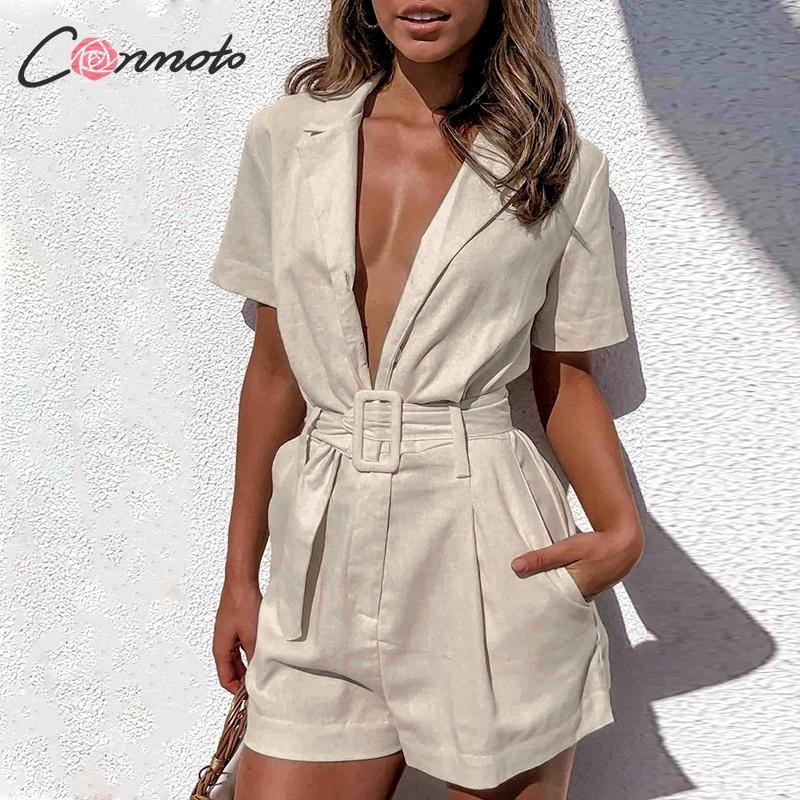 Image 3 - Conmoto button belt tie summer plusysuits romper women causal linen beach playsuits romper white beach short jumpsuit romperRompers   -
