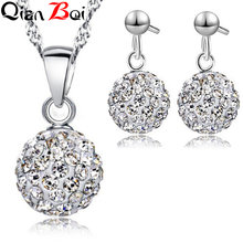 QianBei Earring Pendant Necklace Pave Rhinstone Disco Ball 925 Sterling Silver Jewelry For Women Dress Party Valentine Day Gift(China)