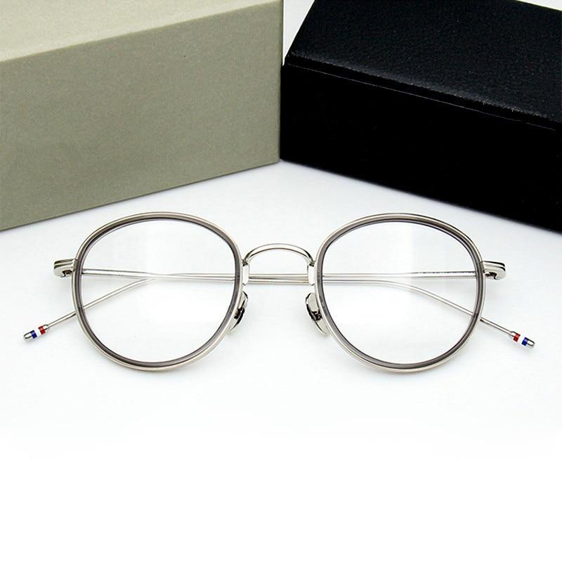 Retro Round Glasses Frame Men TB905 Blue Light Acetate Alloy Eyeglasses Women High Quality Myopia Lentes Opticos Para Mujer