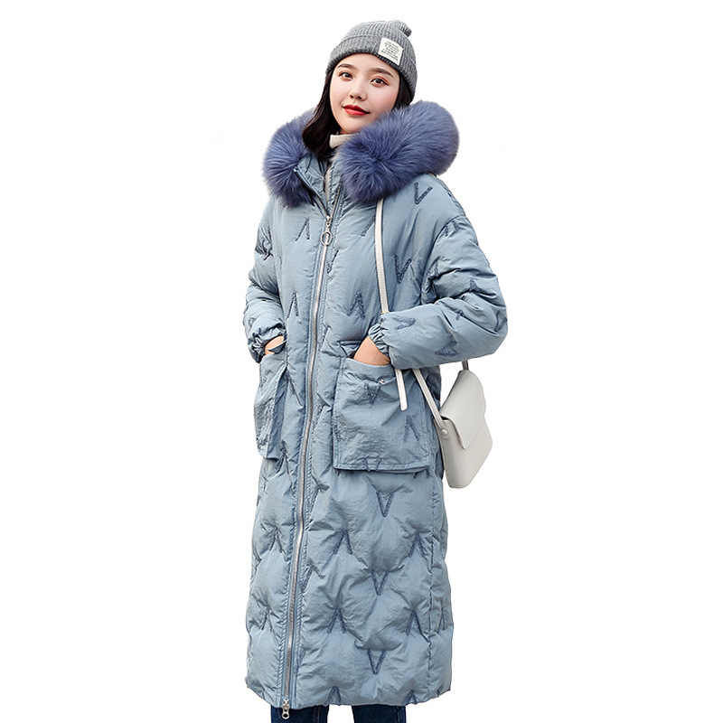 Woah 2019 winter 2019 new Korean version of loose down jacket long cap and large size lady s cotton jacket 6918