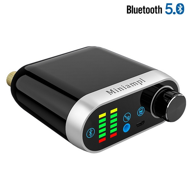 Bluetooth 5.0 ハイファイ TPA3116 パワーアンプデジタルアンプボード 50 ワット * 2 ステレオオーディオインジケータで音楽スペクトル