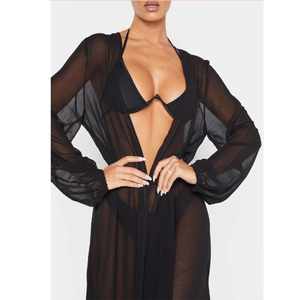 Image 1 - Femmes col en v en mousseline de soie robe à manches longues longueur de plancher Kimono Cardigan plage couvrir avec ceinture ouverte avant même robe dété solide