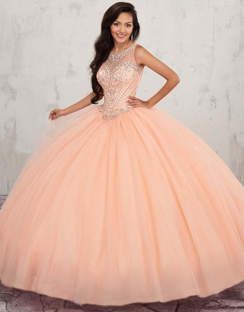 2020 Beaded Crystals Ball Gown Quinceanera Dresses Keyhole Back Sweet 16 Dresses Prom Party Gowns Plus Size