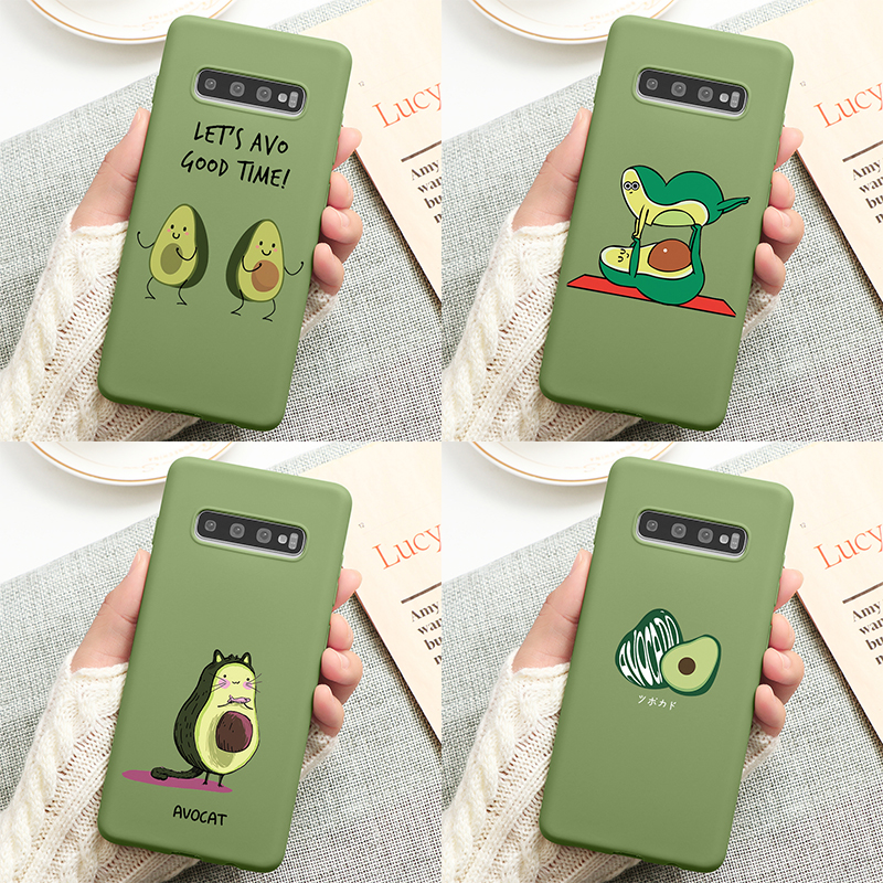 Avocado Cute Funny Matte Case For <font><b>Samsung</b></font> Galaxy A50 A40 A70 Note 10 8 9 <font><b>A7</b></font> A9 A6 Plus <font><b>2018</b></font> A20 A30 A60 Case Coque Silicone TPU image