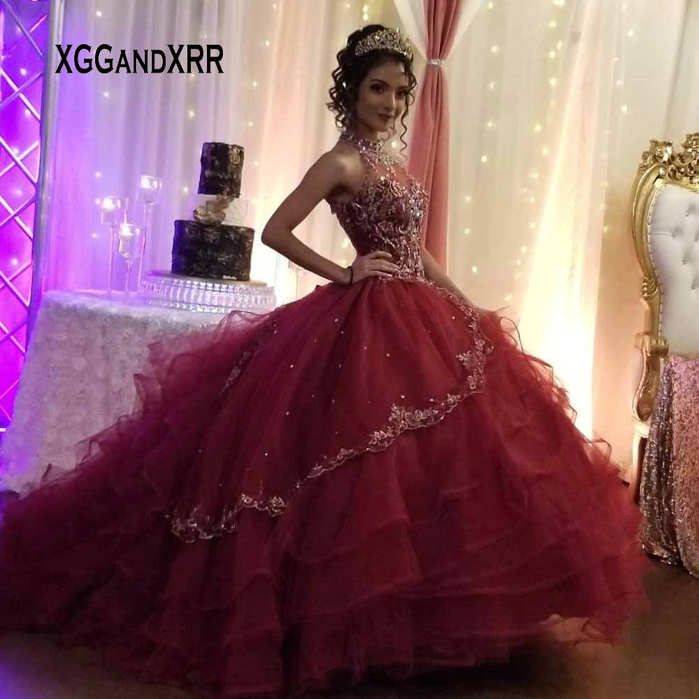Luxury Beading Quinceanera Dresses For 16 15 Years Halter Open Back Puffy Sweet 16 Gowns Formal Wear Plus Size
