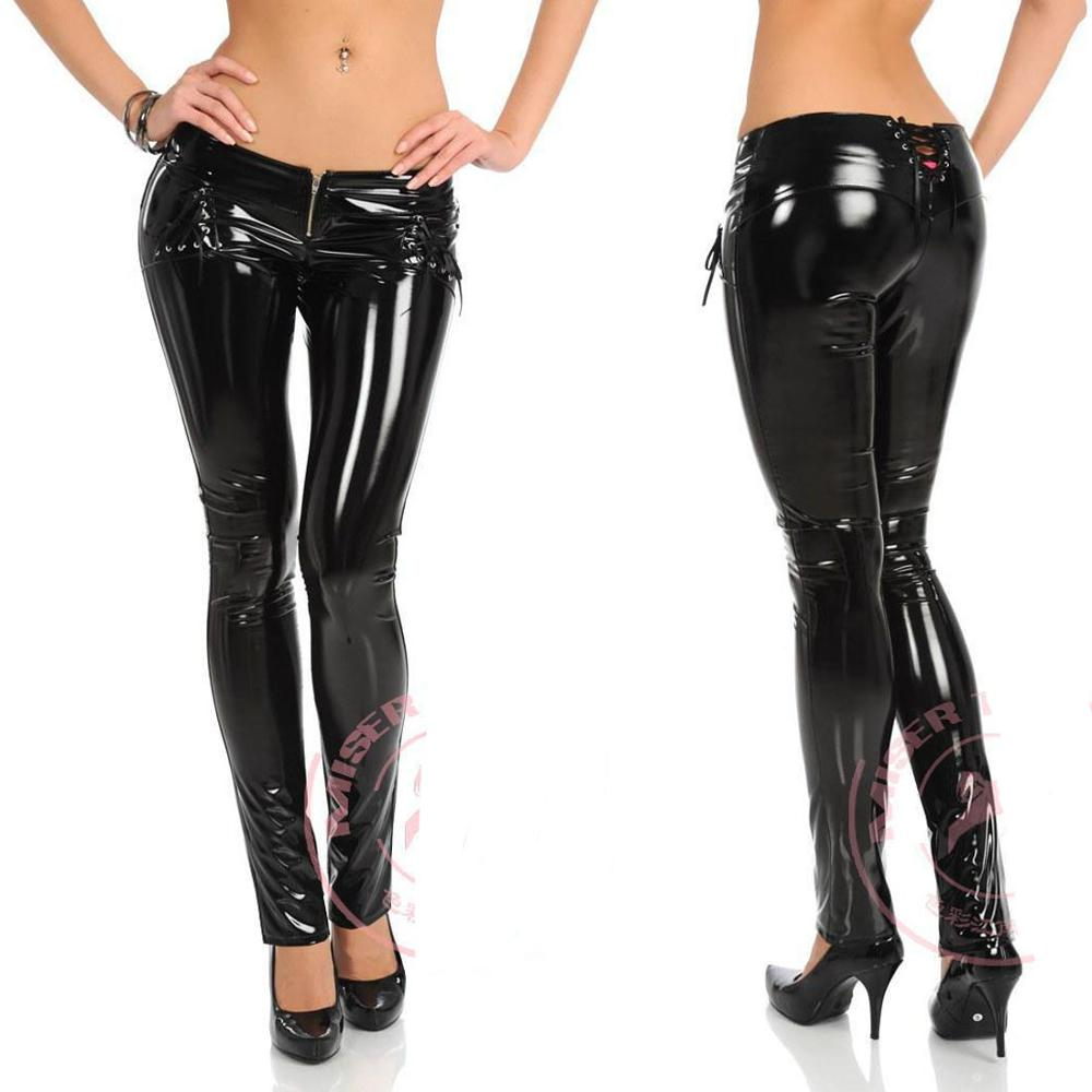 Wetlook Sexy Fetish Gay Leather PVC Pants Shiny Wet Look Leggings Plus Size Punk Rock Legging Fitness Night Clubwear Trousers image