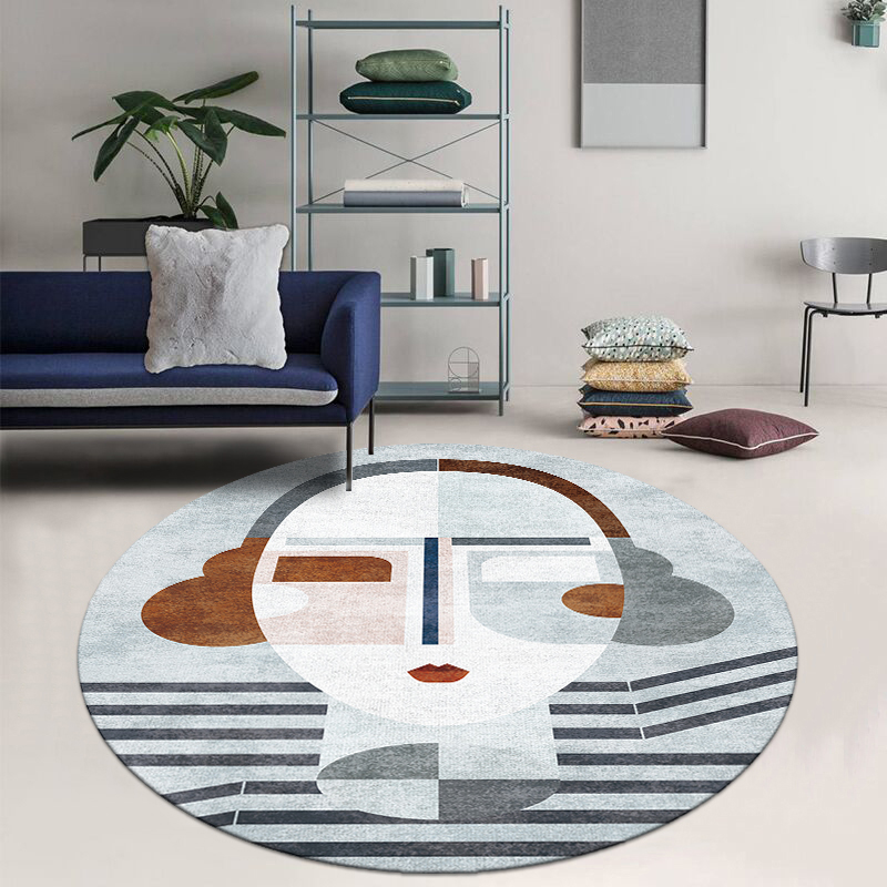 Nordic Round Shaped  Living Room Printed Art Rug , Decoration Parlor Carpet, Hotel Carpet, INS Popular No Hair  Floor Mat