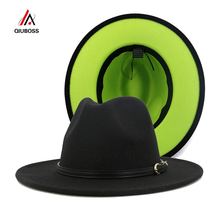 Fashion Women Men Patchwork Artificial Wool Felt Fedora Hats with Belt Buckle Double-Sided Color Flat Brim Jazz Panama Cap cheap QIUBOSS Unisex COTTON Polyester Adult QB317 Casual Plain Summer Winter Spring Autumn Europe and the United States