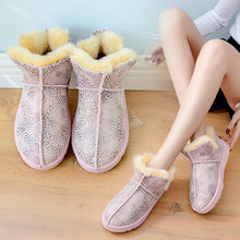 2020 Winter Pink Ankle Snow Boot Women Chunky Boot Warm With Fur Snake Gray Suede Cotton Boots Female Flat Slip On Snow Boots(China)