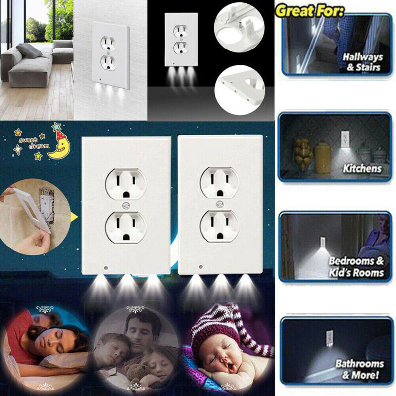 Night  High-quality Durable Convenient Outlet Cover Wall Plate With Led Night Lights Ambient Light Sensor