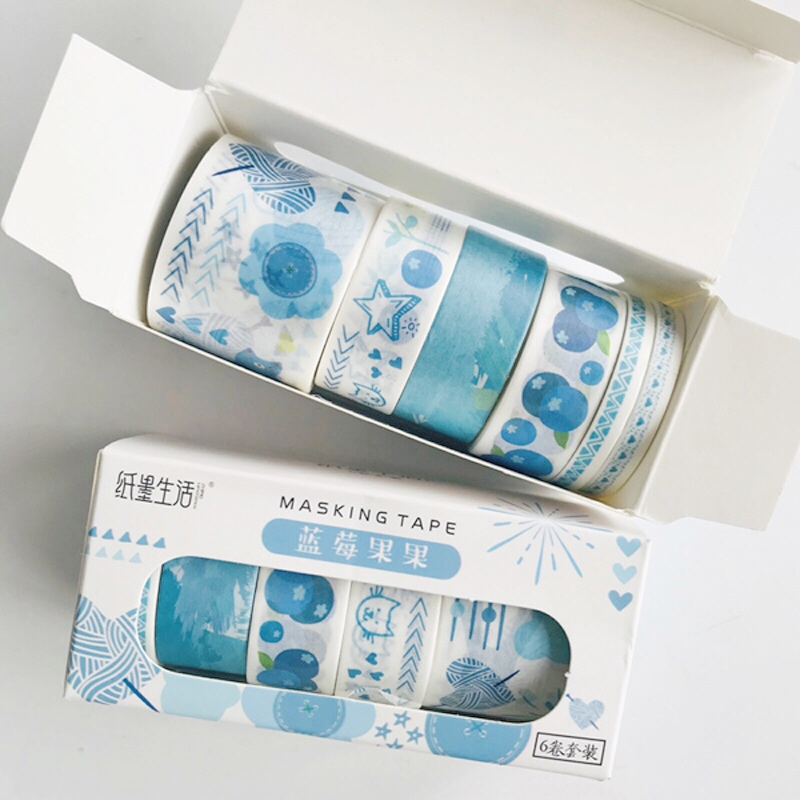 6 Rolls/Box Blue Style Blueberry Stars Paper Masking Washi Tape Hand Account Decoration