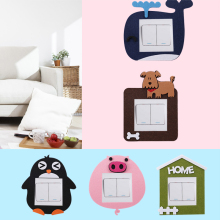 1pc Creative Cartoon Felt Switch Sticker Home Bedroom Switch Socket Decoration Cover Wall Sticker Switch Cover cartoon chemist man wall sticker decal chemist sticker home bedroom decoration a00353