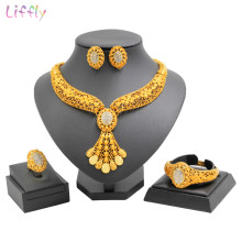 Classic Africa 24 Gold Jewelry Sets Crystal Necklace Bracelet Ring Luxury Wedding Bride Jewellery Fashion Earrings Accessories(China)