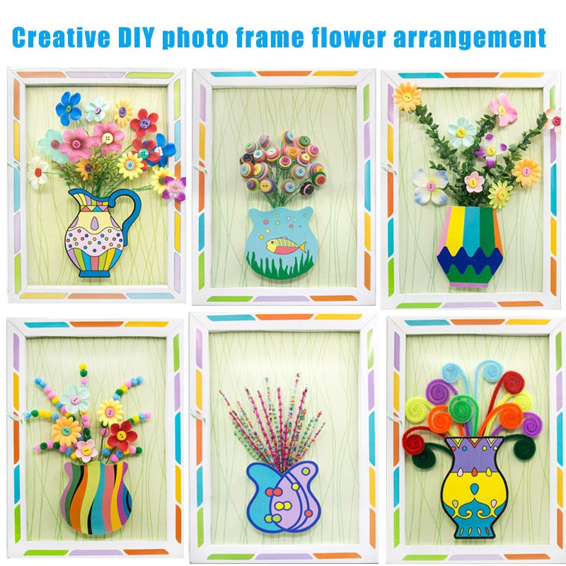 Kids Craft Foam Beads Arts And Crafts Photo Frame Button Bouquet Diy Making Kit Handmade Creative 3D Painting Toys For Children