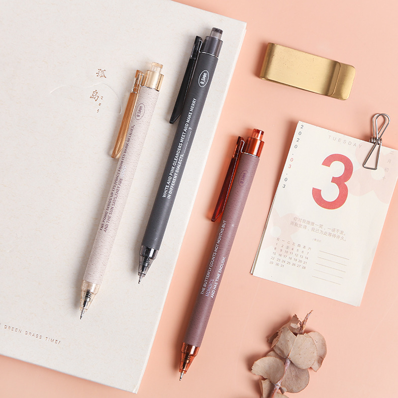 3pcs Press Type Gel Pen Carbon Black Color Ink Pens Creative Fresh and Simple 0.5mm Needle Tip DM-903 Office and School Supplies