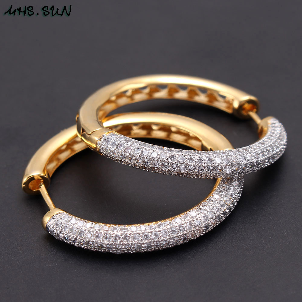 MHS.SUN 2019 New European Style Jewelry Gold Color Hoop Earrings With AAA Zircon For Women Wedding Party Circel Earrings GiftHoop Earrings   -