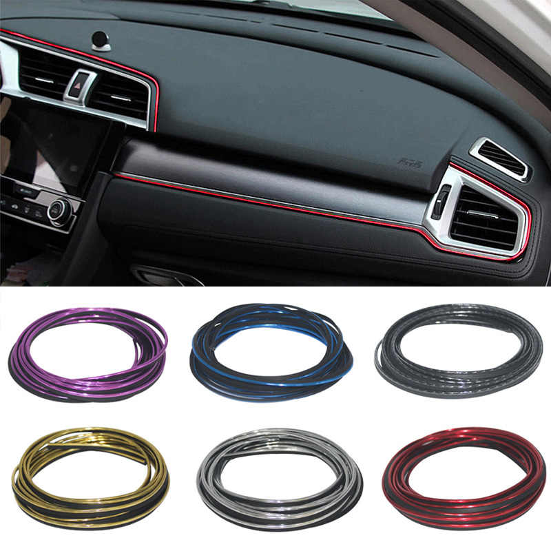 Car styling 5M DIY Universal Automobile Car Motor Dashboard Decor Plated Moulding Trim Strip Protection Strip Scratch Protector