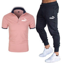 Summer New Men's Short-Sleeved Polo Shirt Suit Lapel Fashion Casual Polo Shirt + Thin Trousers Breathable Fashion 2-Piece Set