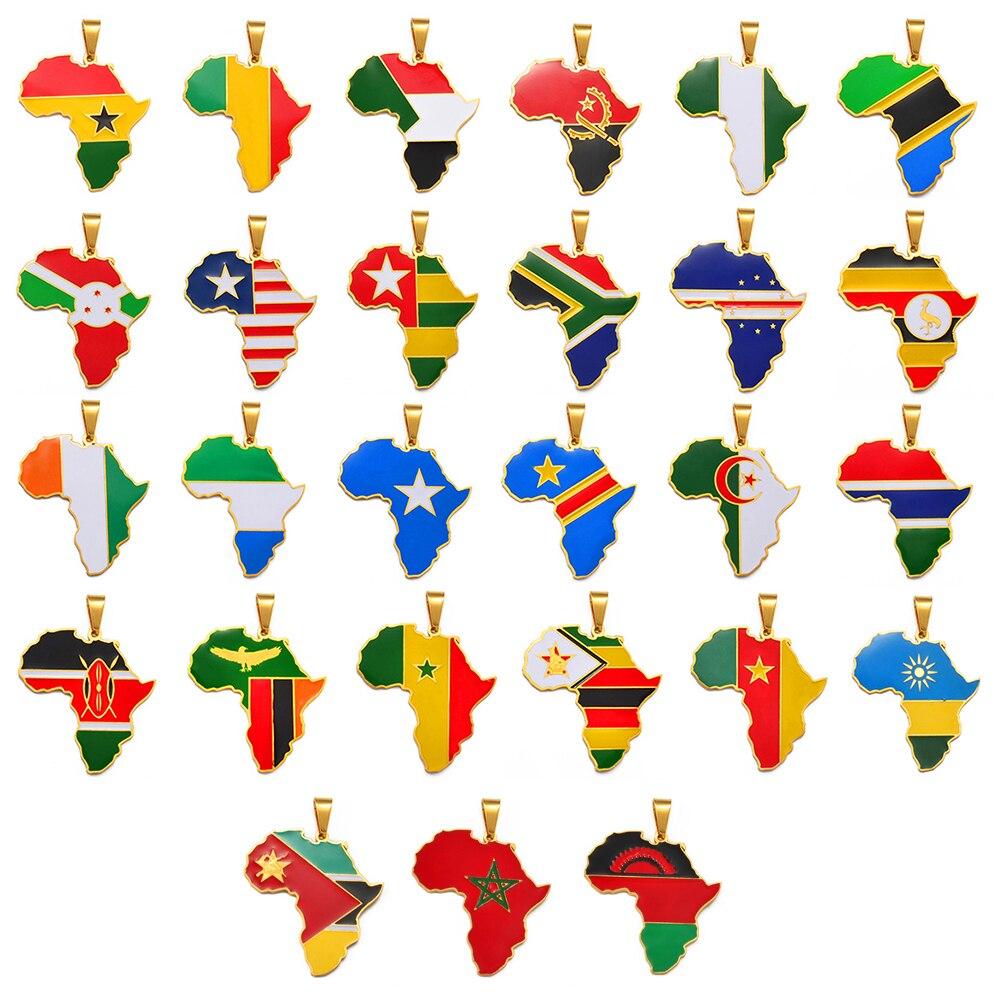 Anniyo Hip-hop Africa Map Pendant Necklace Jewelry Ghana Nigeria Congo Sudan Somalia Uganda Zimbabwe Zambia Liberia #207921