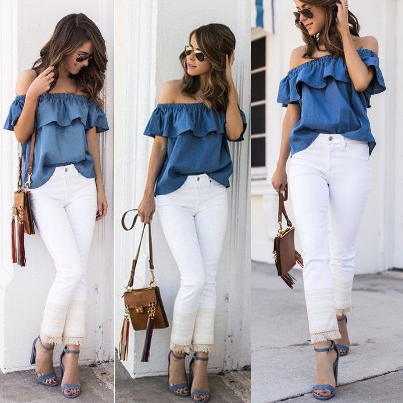 Ruffles Sleeve Blouses Casual Jeans Blue Denim Tops fashion 2020  Women Summer Off Shoulder Classics Sexy Shirts 90s