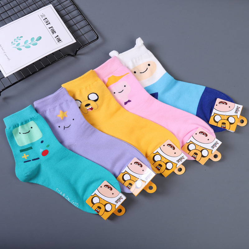 Anime Adventure With Finn And Jake Sock Ice King Lumpy Space Princess Fun Cute Women Socks Autumn Winter Yellow Cotton Sock Time
