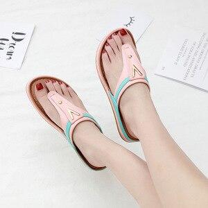 Image 4 - 2020 Summer Women Shoes Flip Flops Ladies Beach Sandals Plus Size Women Sandals Flat Women Flip Flops Fashion Luxury Brand A912