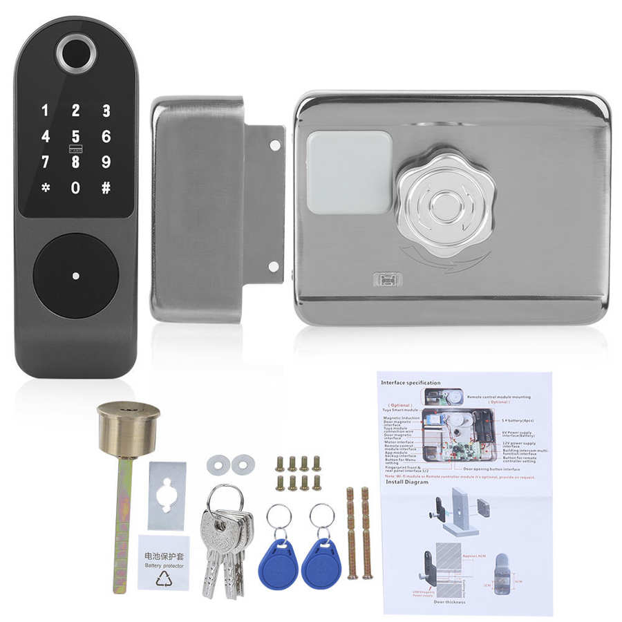 WIFI Door Lock Fingerprint Password IC Card Key Wiring Free Digital Gate Access Control for TUYA Hot Sale