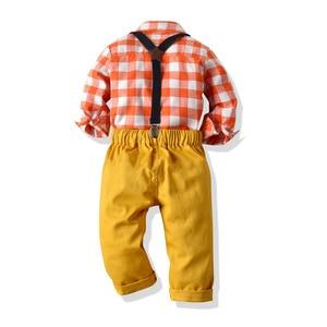Image 3 - Pomarańczowy biały Plaid chłopiec formalne ubrania dziecko suknia ślubna z długim rękawem dla dzieci kostium dla dzieci chłopcy jesień garnitur dla niemowląt Kid odzież zestaw