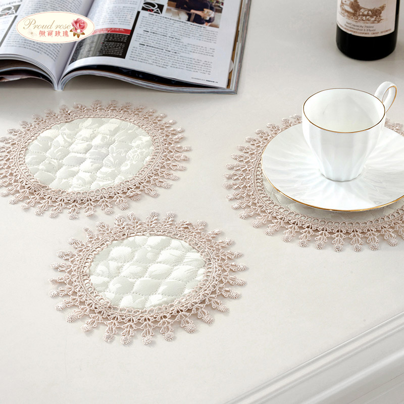 Proud Rose 4 Pcs Lace Round Cup Cushion Korean Table Mat Heat Insulated Pad Household Western-style Food Mat Bowl Cushion