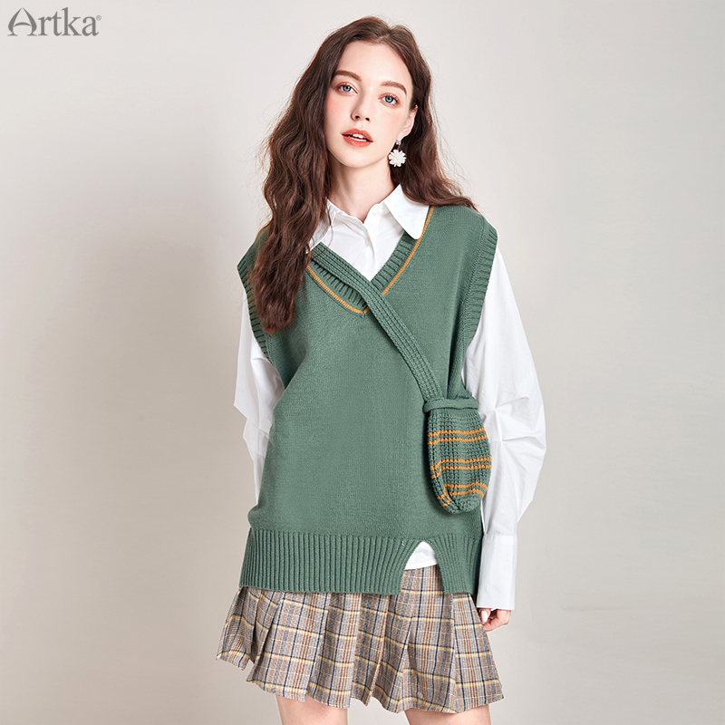 Artka Womens Loose Cable Knit Button Down Wool Blend V Neck Cardigan Sweater