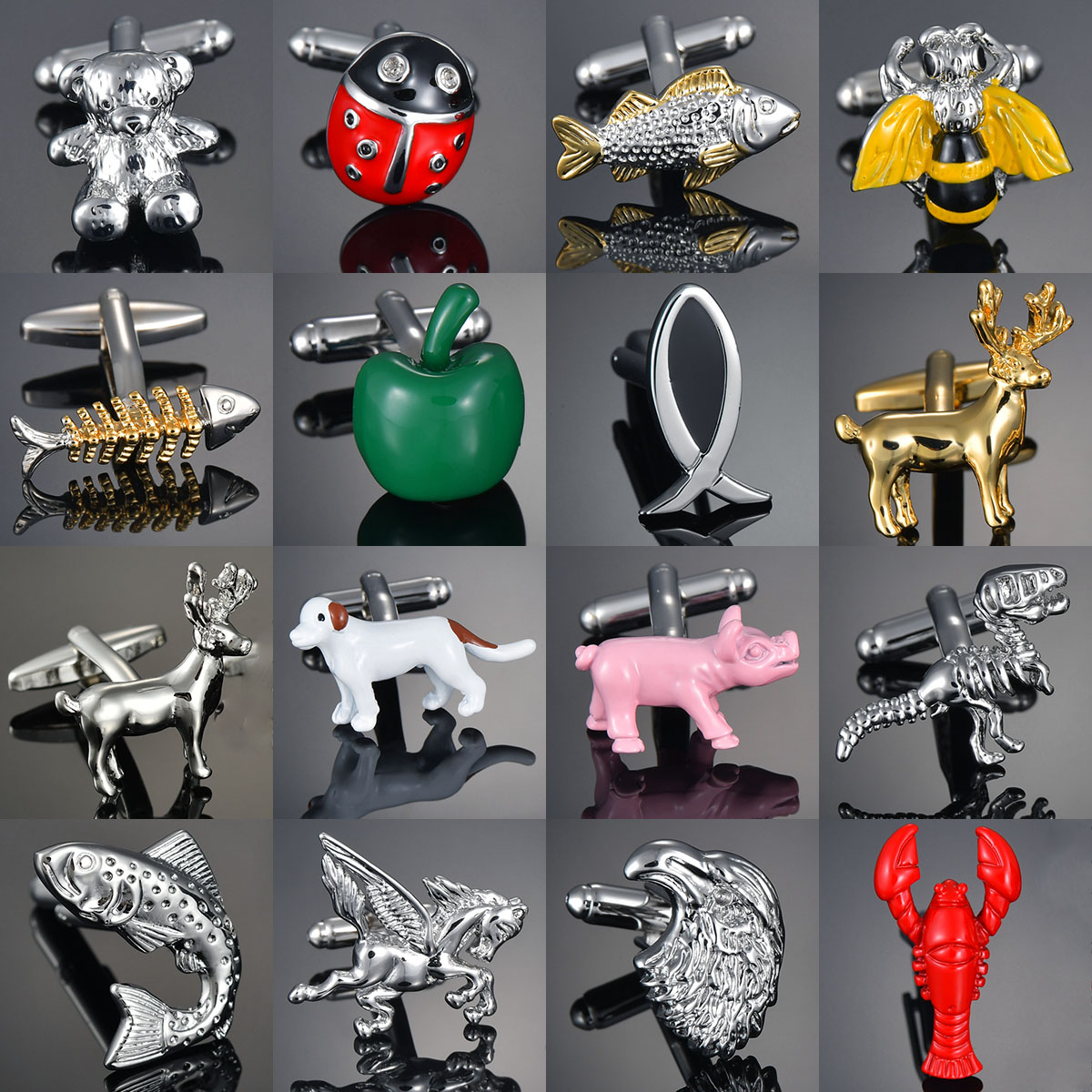Animal Series Cufflinks Horse Design Bear/Bee/Elephant/Penguin/Kangaroo/Eagle Men Cufflinks Gemelos Bouton Manchette