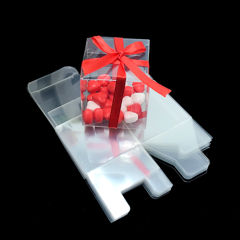 50Pieces/lot Clear Square Wedding Favor Gift Box PVC Transparent Party Candy Bags Chocolate Boxes 5x5x5cm Caja De Dulces