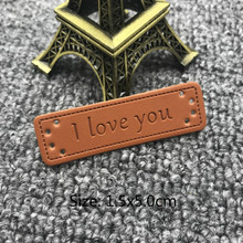 50pcs/lot I love you labels for clothing handmade sewing pu leather tags gifg with label clothes tag
