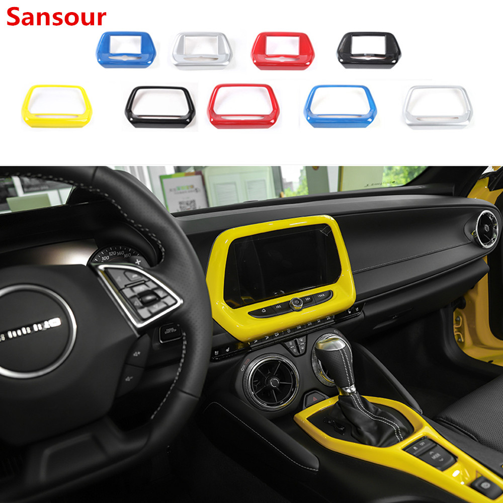 Sansour Car Interior Navigation Screen GPS Panel Decoration Frame Cover Sticker For Chevrolet Camaro 2017 Up Accessories Styling