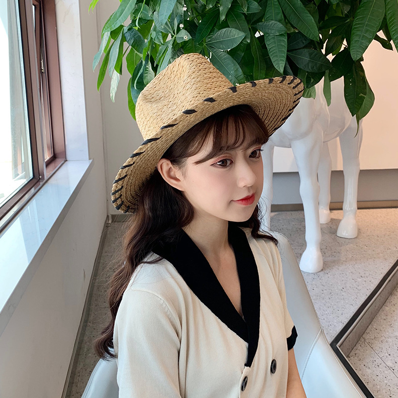 Romantic Style Solid Color Fashion Hat Lady Sun Protection Big Brim Straw Hat With Jazz Top Hat Art Seaside Holiday Sun Hat