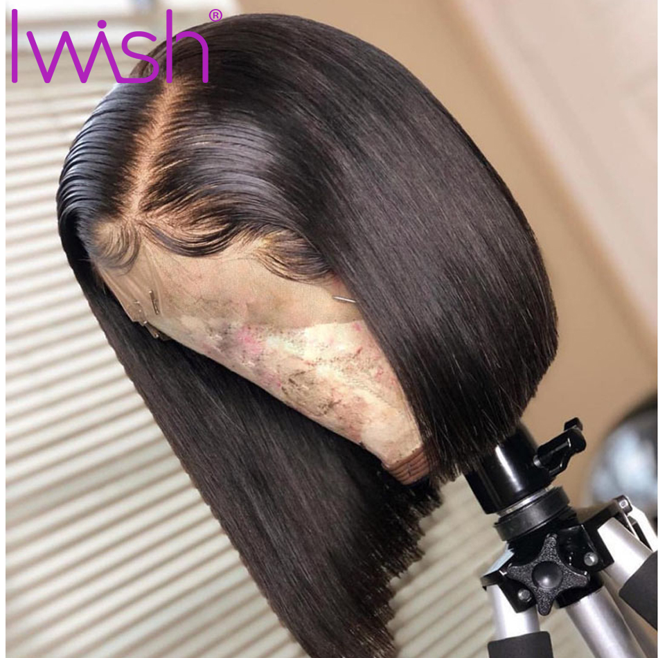 Iwish 13x4 Glueless Colored Bob Lace Front Human Hair Wigs For Women 150% Remy Brazilian Straight Lace Front Wig Pre Plucked