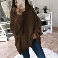 Повседневный свободный осенний зимний свитер с высоким воротом, Женские однотонные вязаные свитера, теплый пуловер с длинным рукавом, свит...
