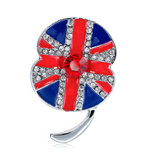цена Hot British commemorative rhinestone flag brooch drop oil diamond poppy red flower brooch wholesale spot