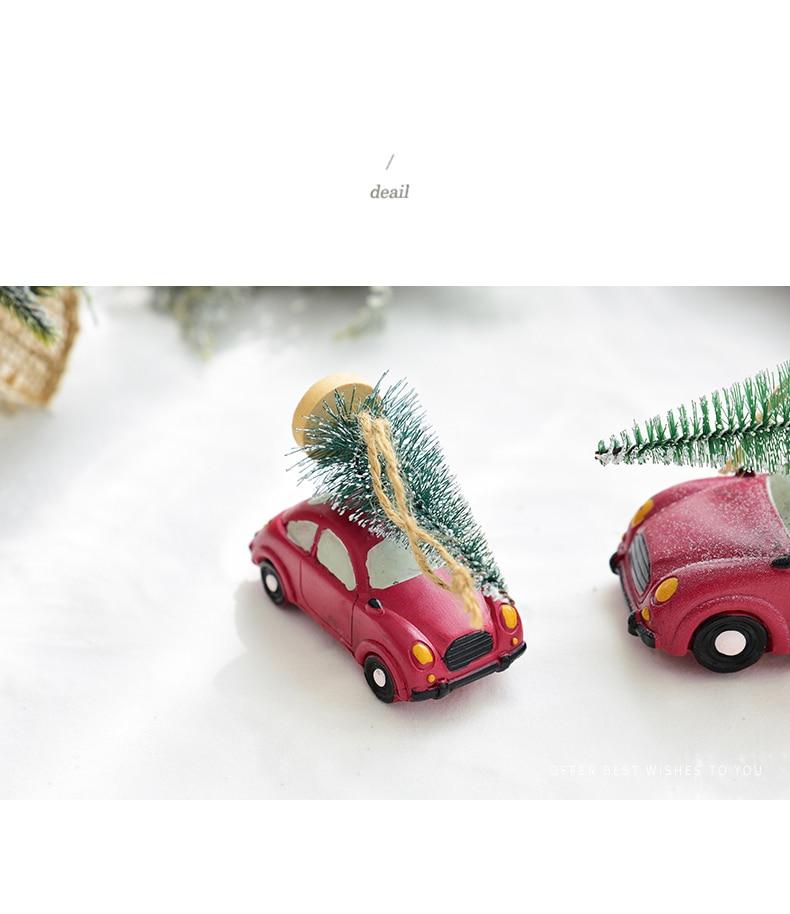 Resin American Mini Car Pull Christmas Tree Desktop Small Ornaments Christmas Decorations Pendant Xmax Ornament QW248 (2)