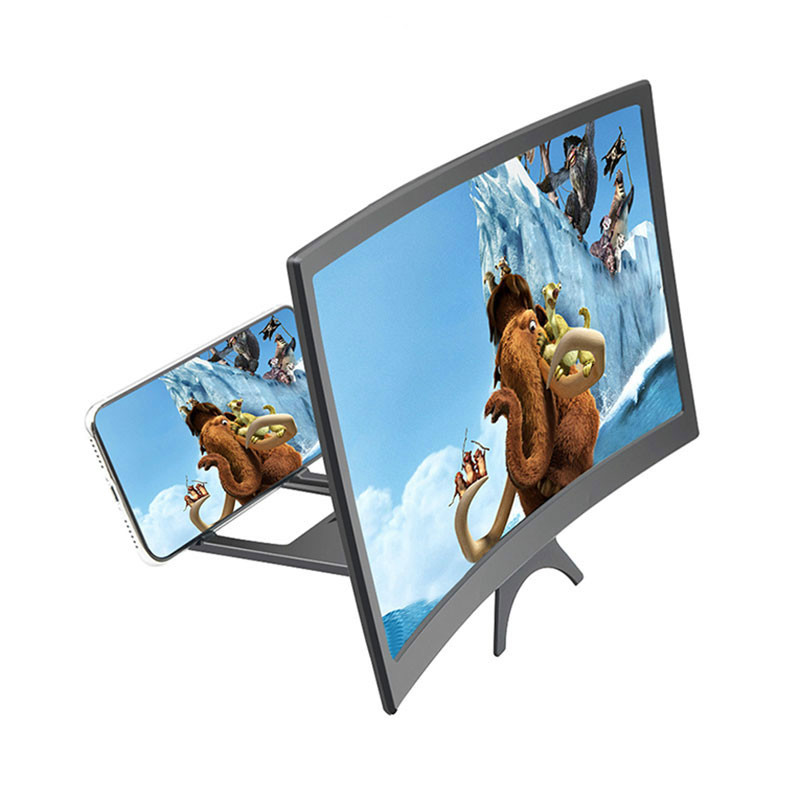 12 Inch Curved Cell Phone Screen Magnifier HD Video Amplifier 3D Screen Movie Enlarged Display Smartphone Stand Holder