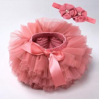 Юбка пачка для маленьких девочек; Комплект из 2 предметов; Кружевная повязка на голову с цветочным узором; Сетчатая Одежда для новорожденных|Юбки|   | АлиЭкспресс