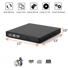 Usb 2.0 externo cd/dvd rom leitor de disco óptico dvd rw gravador leitor laptops para windows 7/8/10