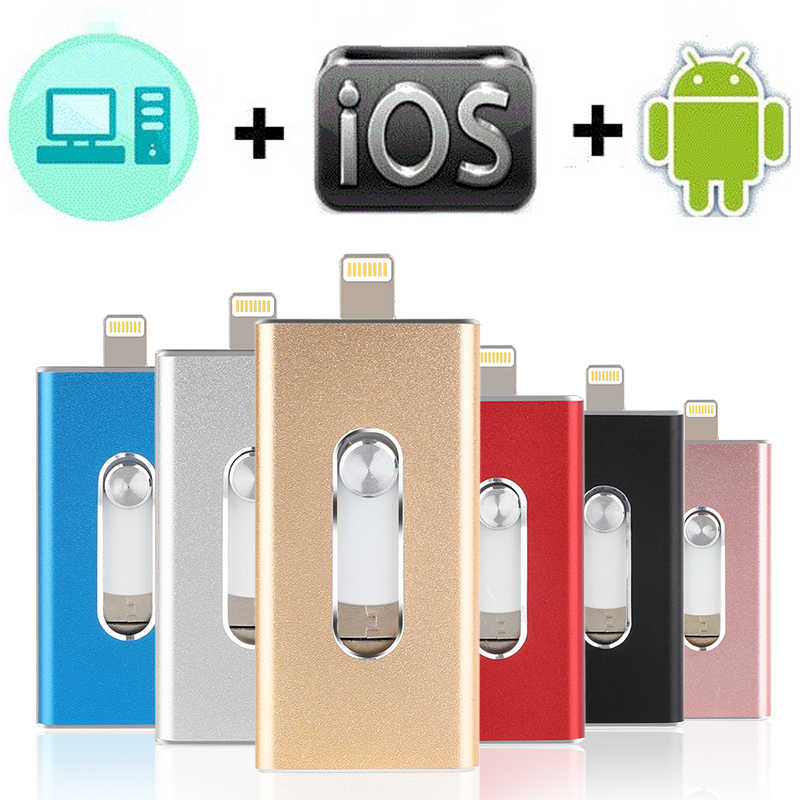 Otg Usb Flash Drive 128Gb 16G 32G 64Gb Pen Drive Hd Externe Opslag Memory Stick Voor iphone 7 7 Plus 6 6S Plus 5 4s Ipad Pendrive