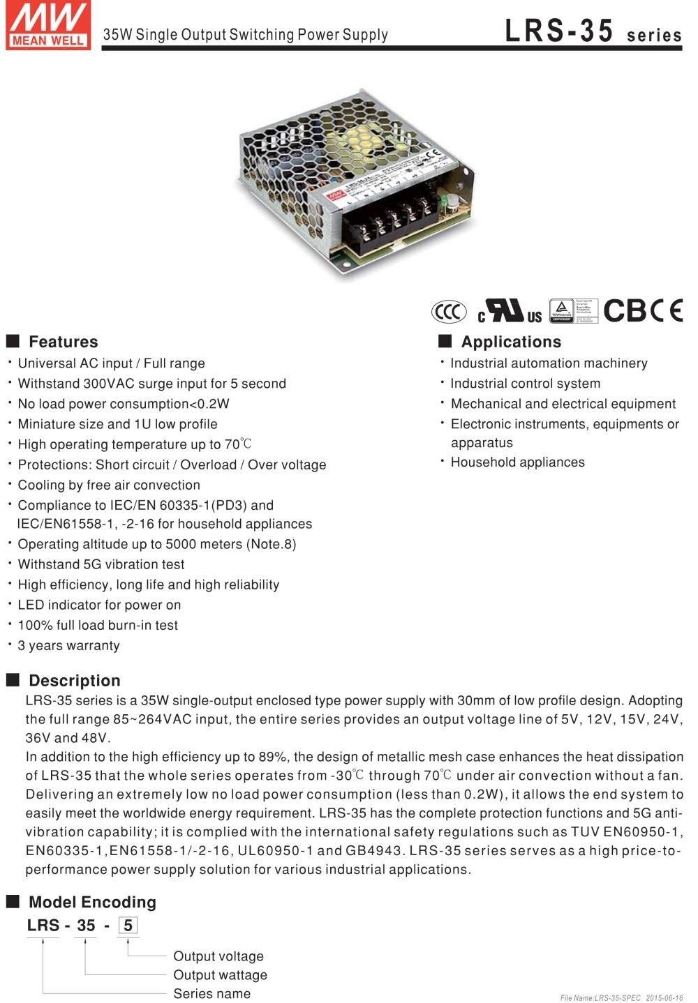Poço médio original LRS-35-15 85-264vac a 15vdc