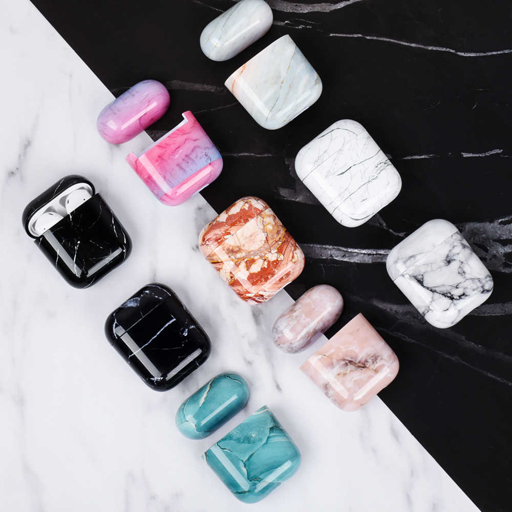 Earphone Protective Case For Apple Airpods Marble Cute Hard Cover For Airpods 2 1 Accessories Headphone Air Pods Case Box Coque