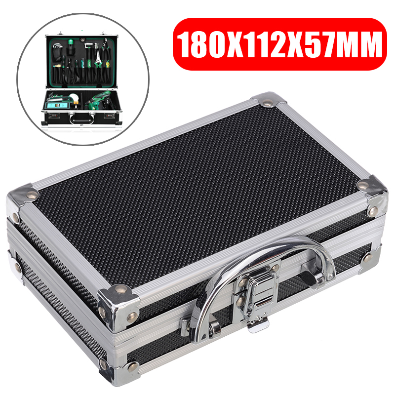 Portable Aluminium Alloy Black Tool Box Solid Durable Handle Storage Case Safe Travel Tool Organizer Box Suitcase 180*112*57mm