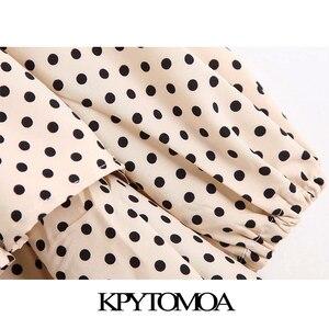 KPYTOMOA Frauen Elegante Mode Polka Dot Rüschen Midi Kleid Vintage Lange Hülse Kordelzug Gebunden Plissee Weibliche Kleider Vestidos