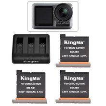 3pcs original kingma For Dji Osmo Action Camera Battery +3 Slot Charging Hub For Dji action camera battery Accessories dji phantom 3 battery charging hub power management for phantom3 series charger original accessories